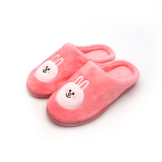 라인프렌즈 자수 방한슬리퍼 |  핑크