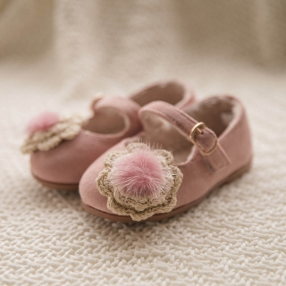 밍크꽃 플랫 여아구두 | 핑크