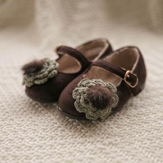 밍크꽃 플랫 여아구두 | 브라운
