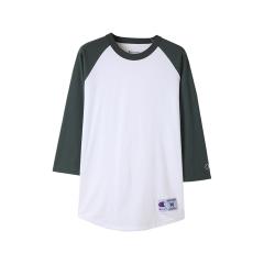 T137 래글런 베이스볼 티셔츠 | 화이트_다크그린