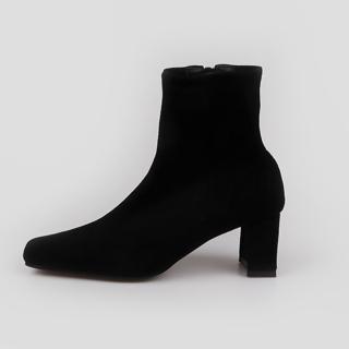 로코이 스퀘어 앵클부츠 6cm | 블랙 스웨이드