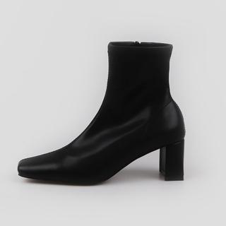 로코이 스퀘어 앵클부츠 6cm | 블랙 합성피혁