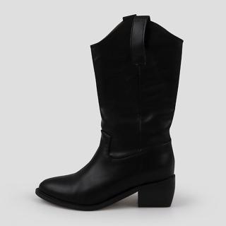 카우인 웨스턴 미들부츠 5cm | 블랙