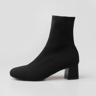 케일라 앵클 삭스부츠 5cm | 블랙 일반안감
