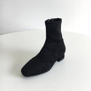 로이드 스웨이드 앵클부츠 3cm | 블랙