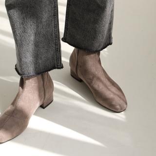 로이드 스웨이드 앵클부츠 3cm | 카멜
