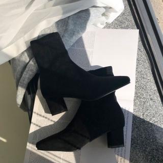 로이드 스웨이드 앵클부츠 5cm | 블랙