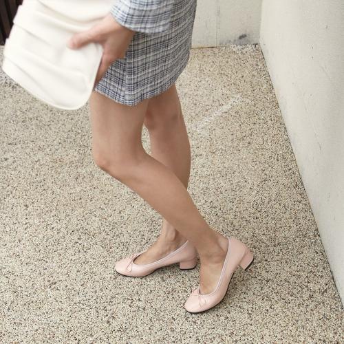 루나 리본 애나멜 미들힐 4.5cm|핑크